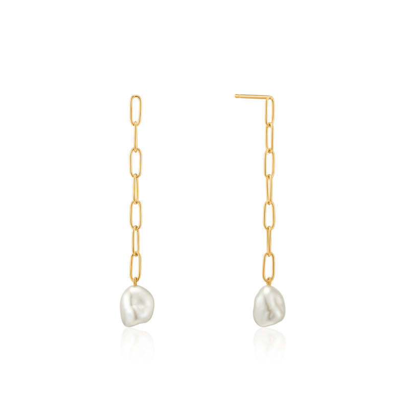Ania Haie Gold Pearl Chunky Drop Earrings