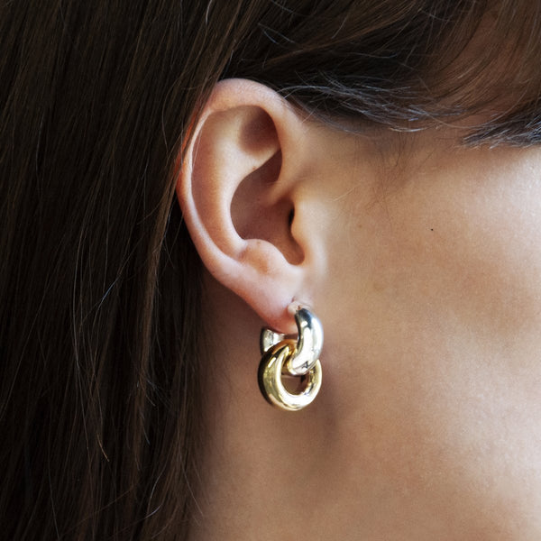 Najo Tumble Silver & Gold Hoop Earrings