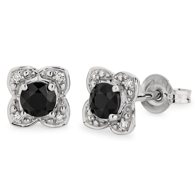 Sapphire & Diamond Claw Set Stud Earrings in 9ct White Gold