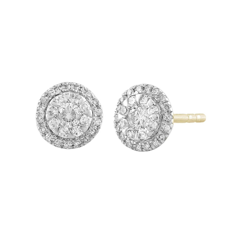 Cluster Stud Earrings with 0.25ct Diamond in 9K Yellow Gold