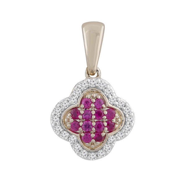 Ruby Pendant with .07ct Diamonds in 9K Yellow Gold