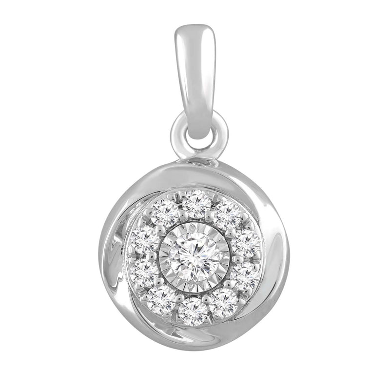 Round Pendant with 0.18ct Diamond in 9K White Gold