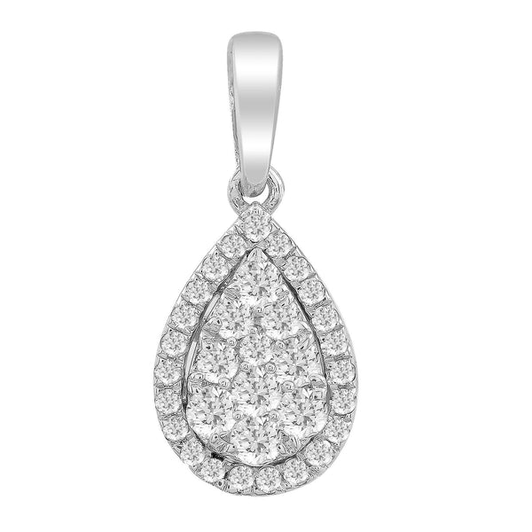 Pear Pendant with 0.25ct Diamonds in 9K White Gold