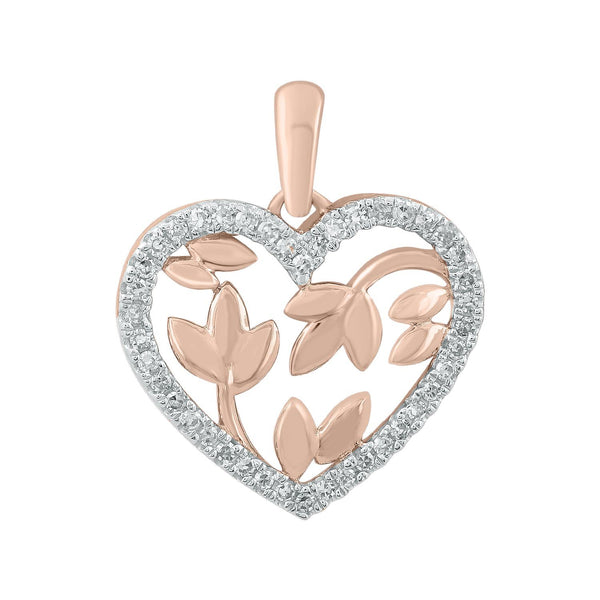 Heart Pendant with 0.12ct Diamonds in 9K Rose Gold