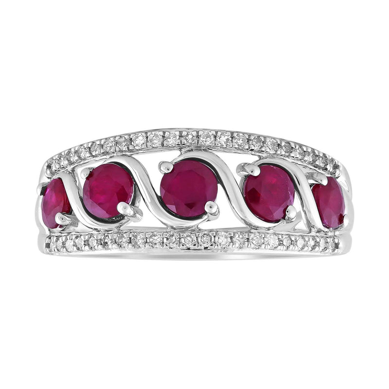 Ruby Ring with 0.15ct Diamond in 9K White Gold