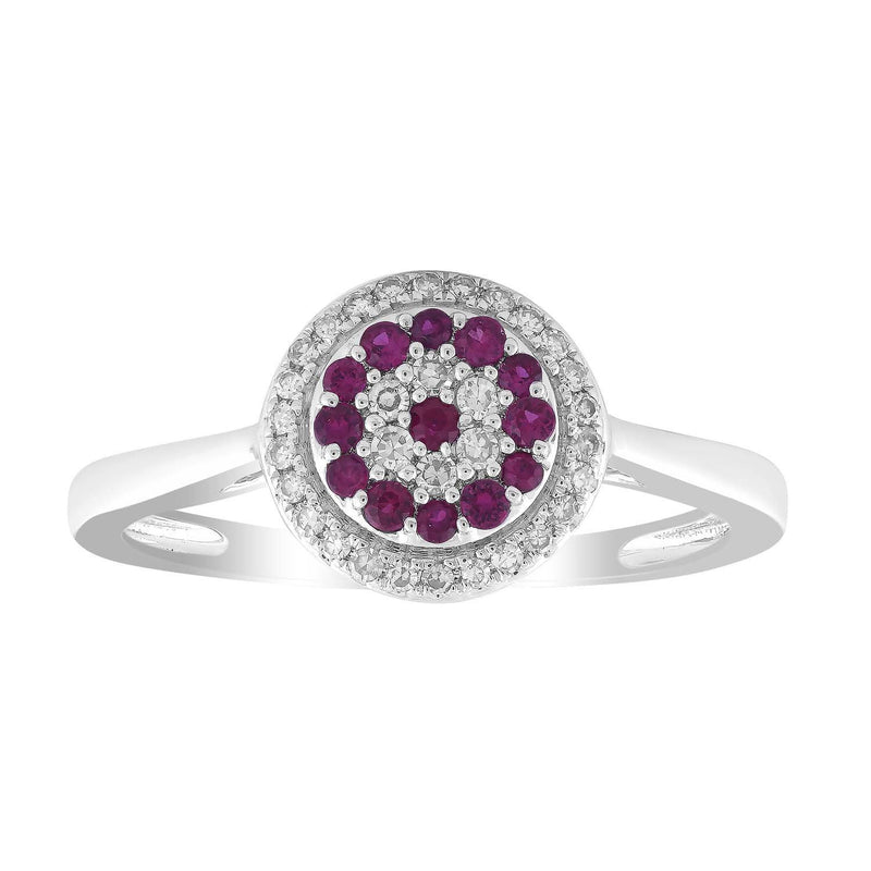 Ruby Ring with 0.12ct Diamond in 9K White Gold