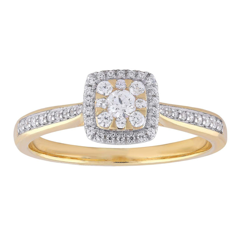 Ring with 0.33ct Diamonds in 9K Yellow Gold