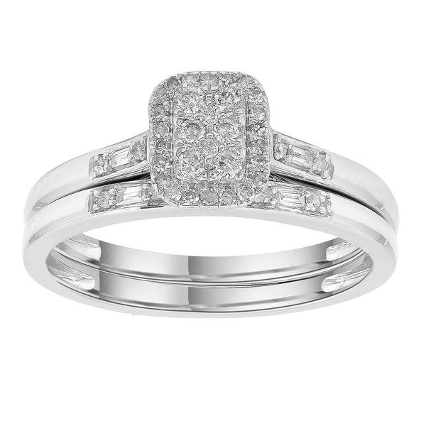 Engagement & Wedding Ring Set with 0.25ct Diamonds in 9K White Gold