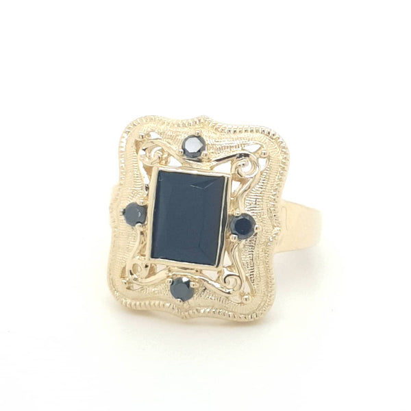 9ct yellow gold Onyx and Diamond Vintage style ring