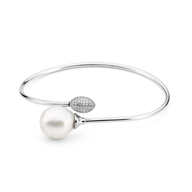 Sterling Silver Freshwater Pearl & Cubic Zirconia Bangle