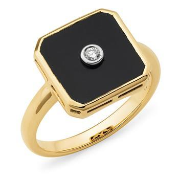Onyx & Diamond Bezel Set Dress Ring in 9ct Yellow Gold