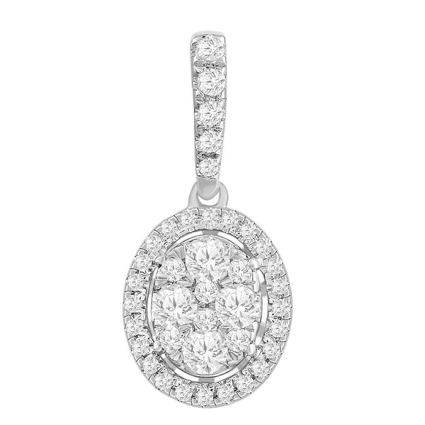 Oval Pendant with 0.33ct Diamonds in 9K White Gold