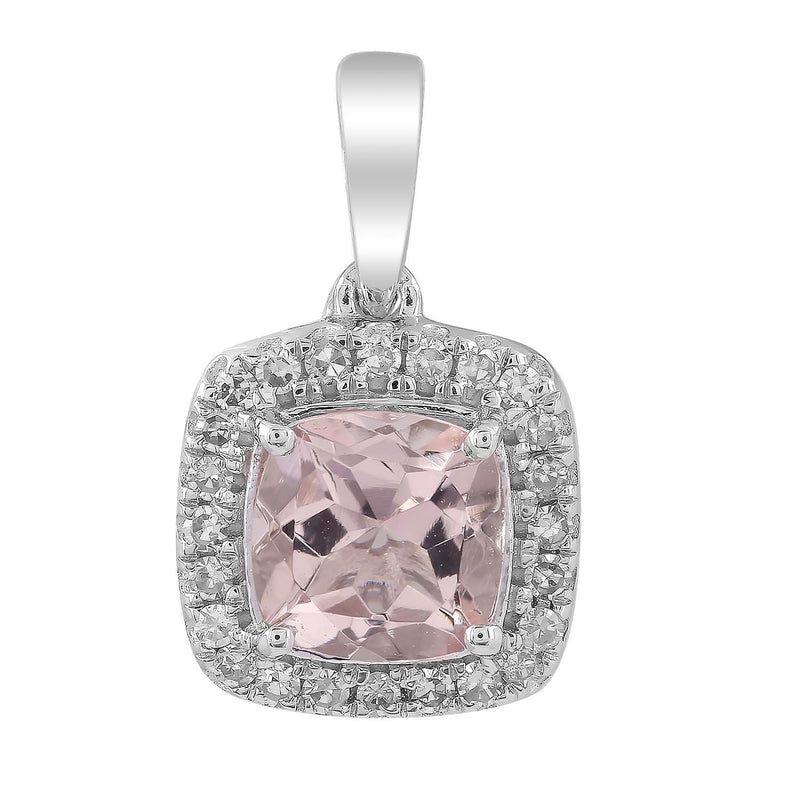 Morganite Pendant with 0.08ct Diamonds in 9K White Gold