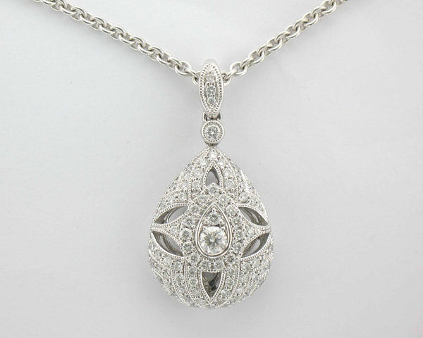 18ct white gold .62pt Diamond teardrop pendant