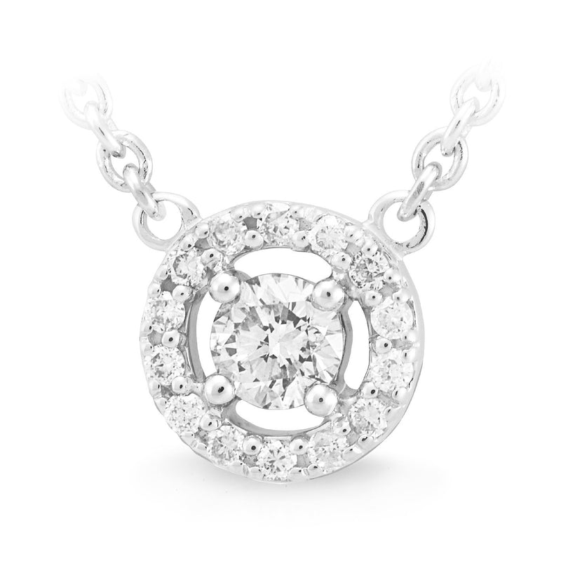Diamond Claw/Bead Set Necklet in 9ct White Gold