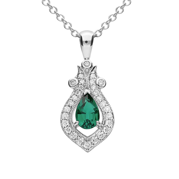 9Ct White Gold Created Emerald & 0.135Ct Diamond Pendant
