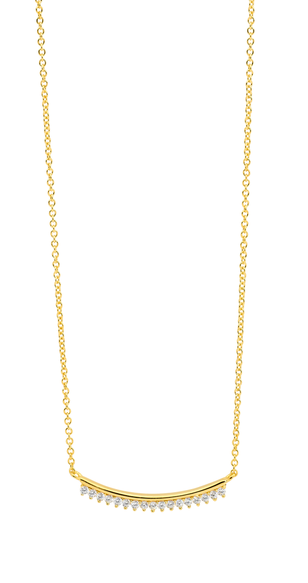 Gold Plated Sterling Silver Cubic Zirconia Necklet