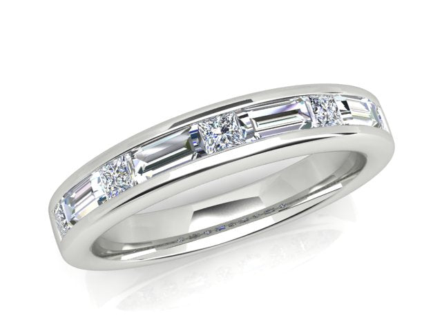 18ct white gold .86pt Baguette and princess cut Diamond Ring