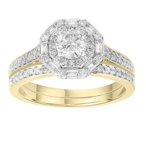 Engagement & Wedding Ring Set with 1ct Diamonds in 18K Yellow Gold