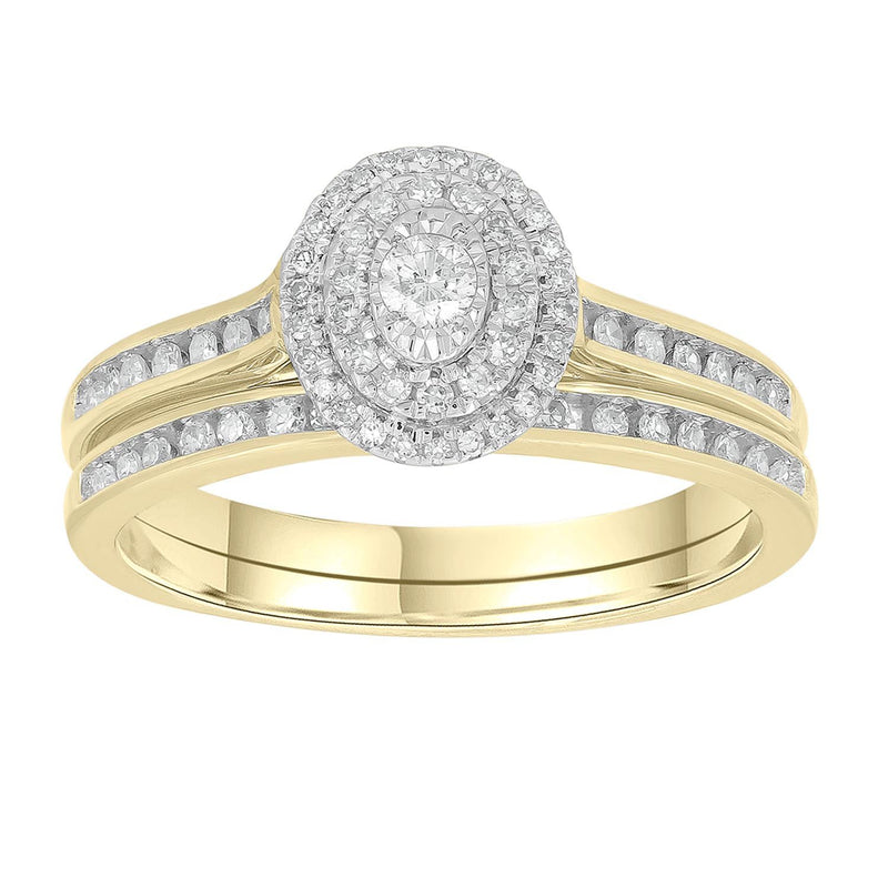 Engagement & Wedding Ring Set with 0.33ct Diamonds in 9K Yellow Gold