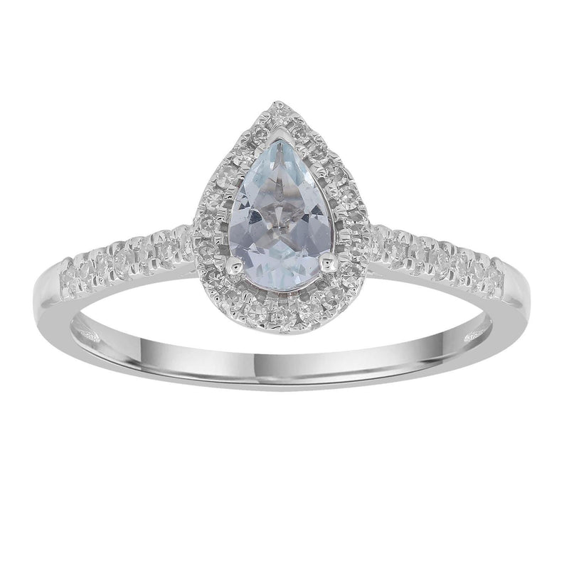 Aquamarine Ring with 0.15ct Diamonds in 9K White Gold