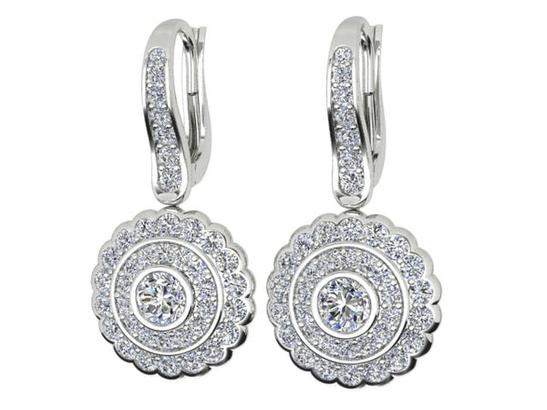18ct white gold 1.36 carat Diamond drop earrings