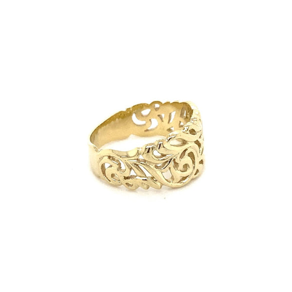 9ct yellow gold Tapered Filigree Ring