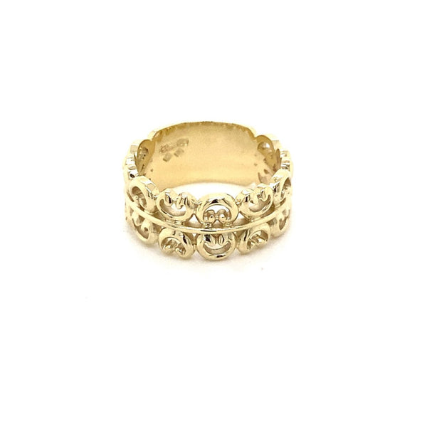 9ct yellow gold Custom made pattern ring