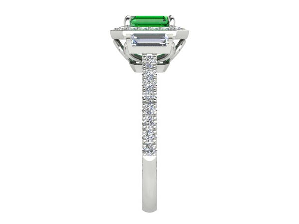 18ct white gold .76pt Columbian Emerald with .74pts of Baguette and Brilliant cut Diamond Ring