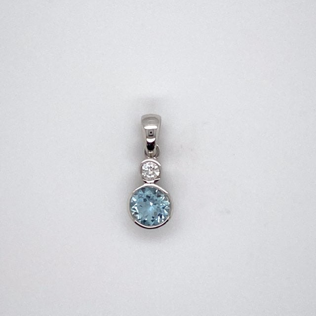 9ct white gold Aqua-Marine and Diamond Pendant