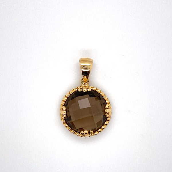 9ct yellow gold Smokey Quartz Pendant