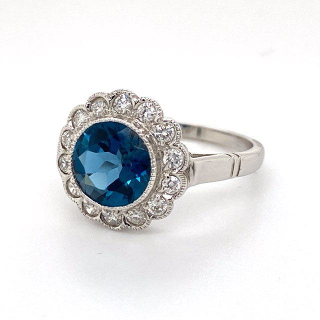 London Blue Topaz and Diamond Halo Dress ring