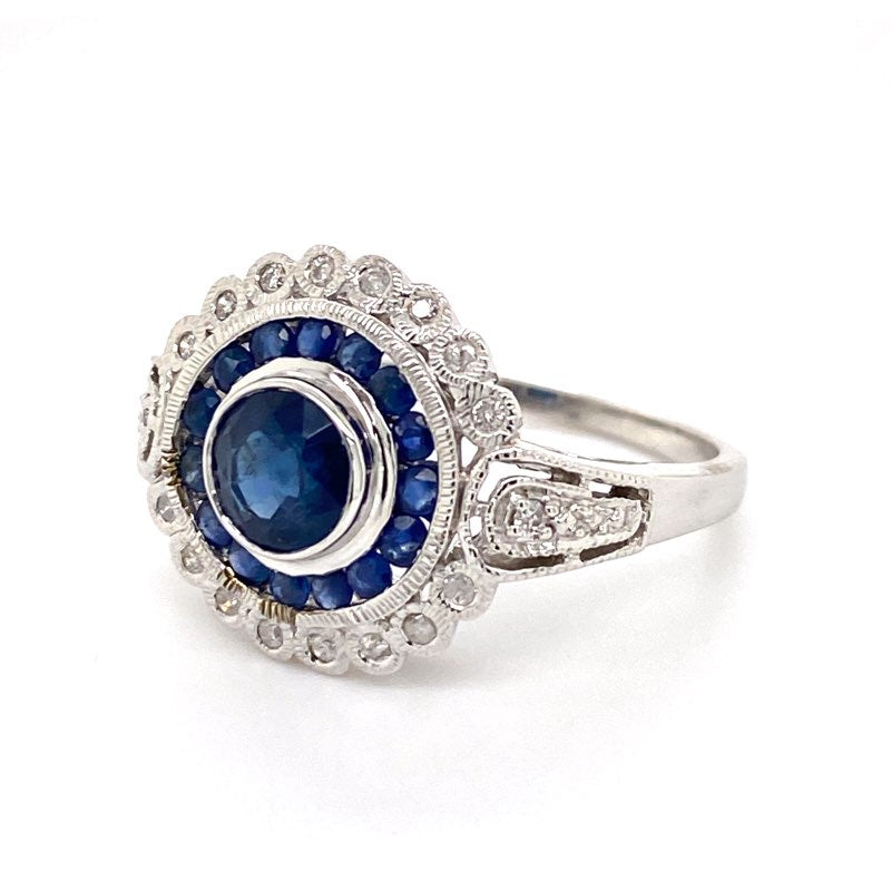 9ct white gold Sapphire and Diamond Halo Dress ring