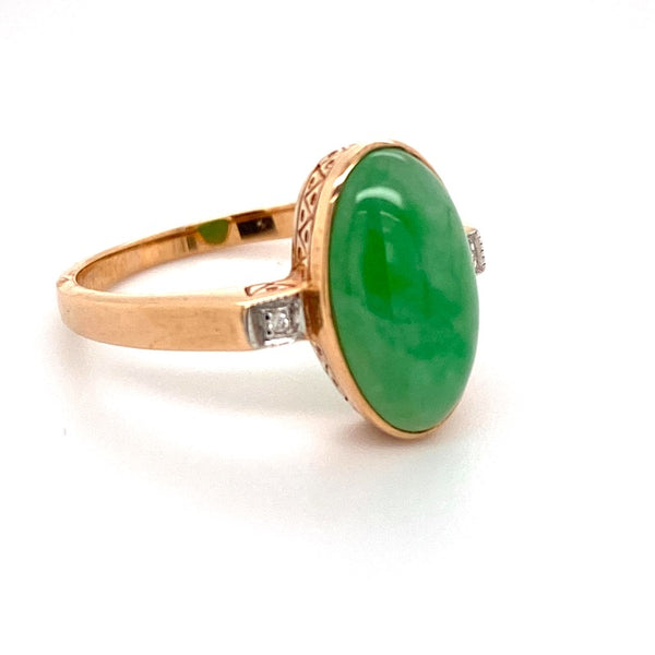 9ct rose gold Jade and Diamond ring