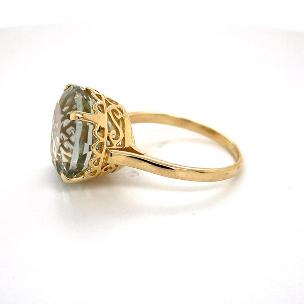 9ct yellow gold Green Amethyst ring