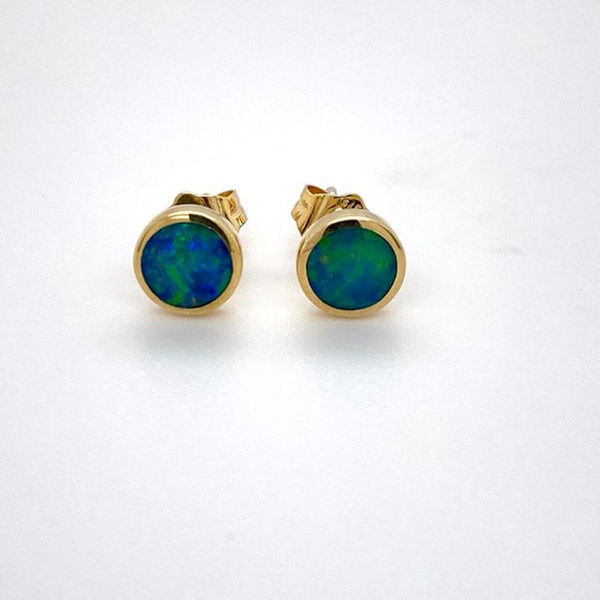 9ct yellow gold Doublet Opal Studs