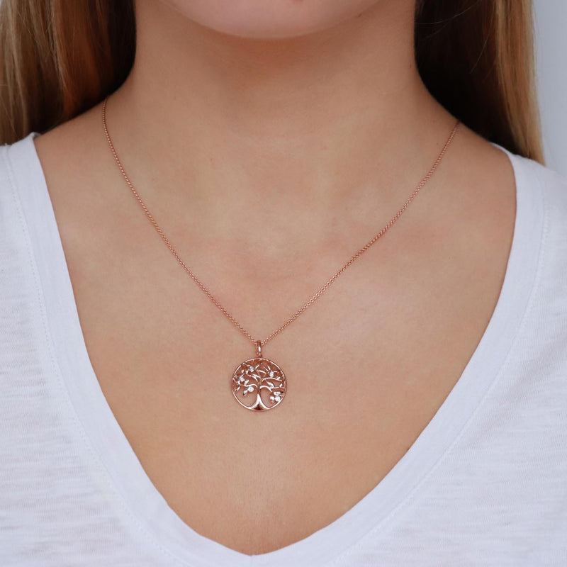 Tree of Life Pendant with 0.05ct Diamonds in 9K Rose Gold