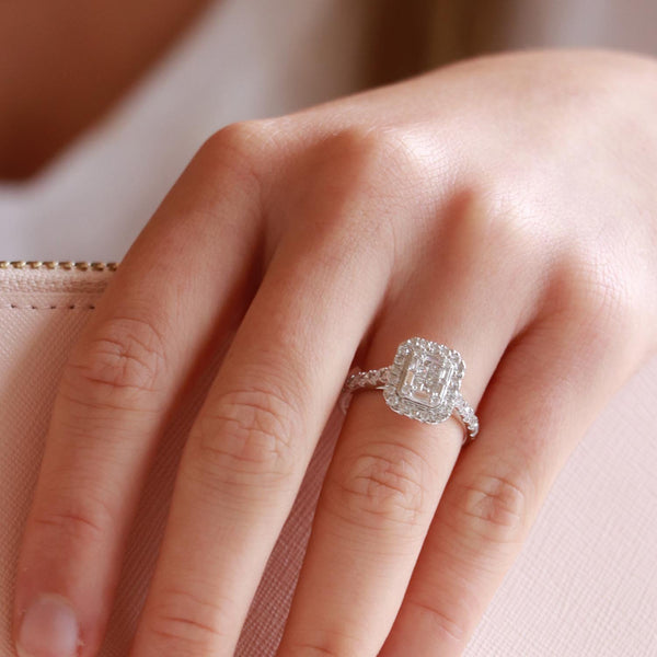 Cluster Ring with 1ct Diamonds in 18K White Gold