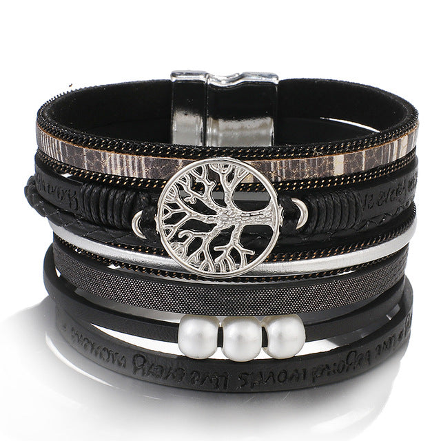 Women Bohemian Multilayer Leather Wrap Bracelet