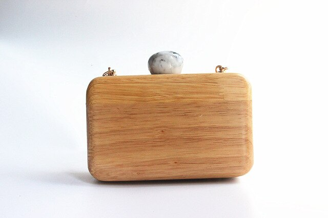 Women evening bag Cute wood casual Clutch