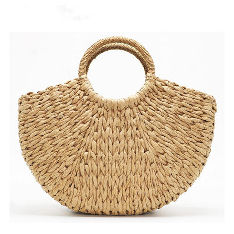 Handmade Beach Bag Round Straw Totes Bag Large Bucket