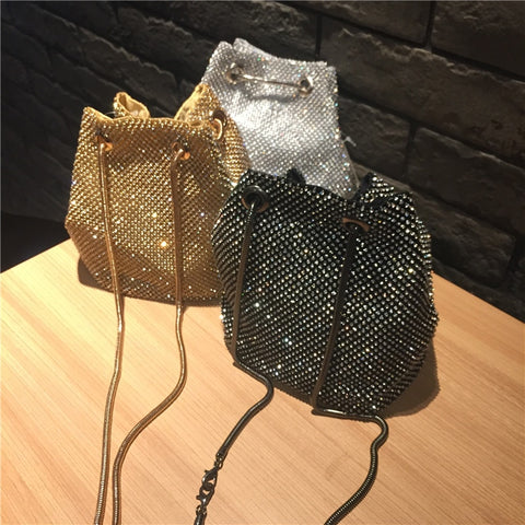 Female Diamond Handbag Vintage Crystal Design Evening Bag Wedding Party Bride Clutch Velour Bag