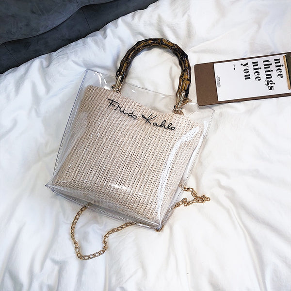 Small Handbag Transparent Women Hand Bags Chain Straw bag Lady Travel Beach Shoulder Cross Body Bag Holiday-in Shoulder Bags