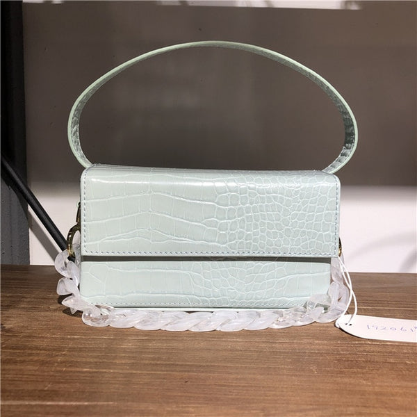 Square Box Women Top-Handle Bag Crocodile Pattern Shoulder Bags