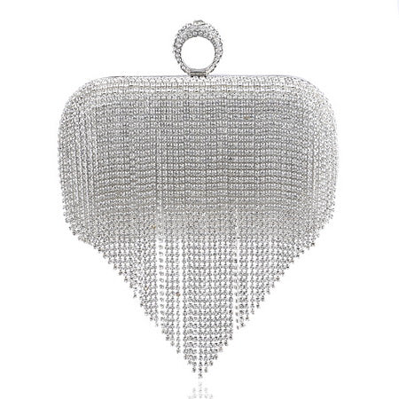 Tassel Rhinestone Finger Ring Evening Bags Diamonds
