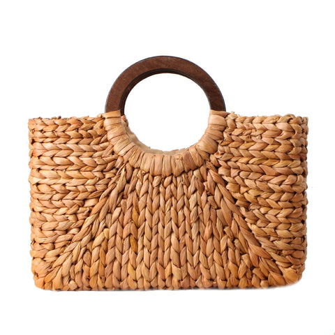 Women Vintage Rattan Handbag Female Bohemian Summer Beach