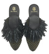 MAMOUNIA BLACK MILITARY TWO TONE SLIPPERS