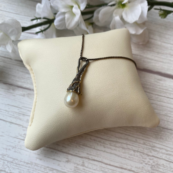 OXIDIZED STERLING SILVER PEARL TEXTURED PENDANT - PERSONA JEWELRY