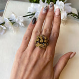 STERLING SILVER & VERMEIL 0.19 CTTW SAPPHIRE FLOWER BOUQUET RING - PERSONA JEWELRY