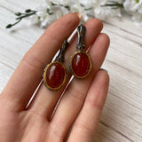 STERLING SILVER & VERMEIL OVAL AGATE CABOCHON IN BARK TEXTURED BEZEL EARRINGS - PERSONA JEWELRY